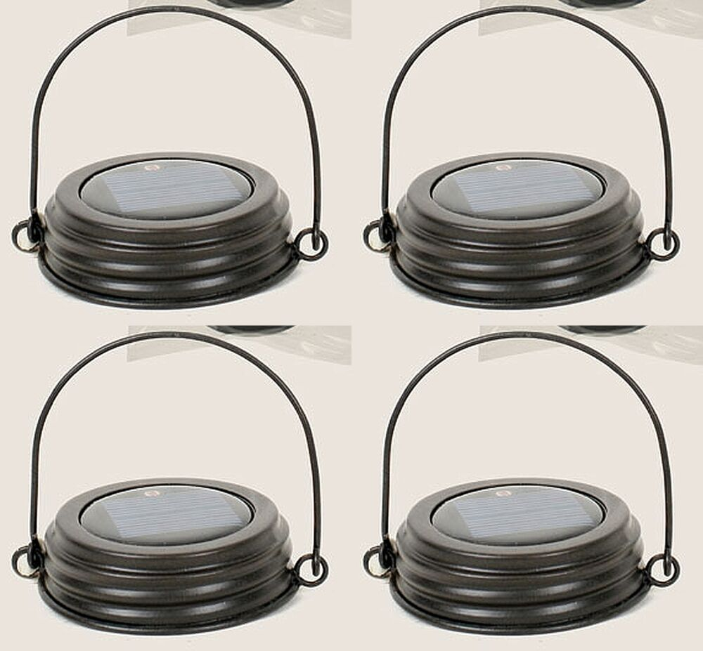 Set Lot of  4 Rustic braun Mason Canning Fruit Jar HANGING LED SOLAR LID LIGHTS
