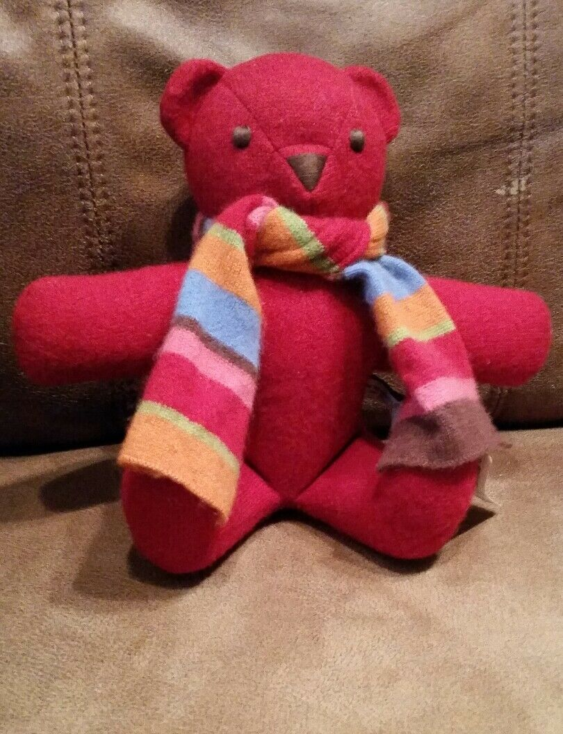 Cashmere Bear Neiman Marcus Armand Diradourian Pashmina plush stuffed animal ROT