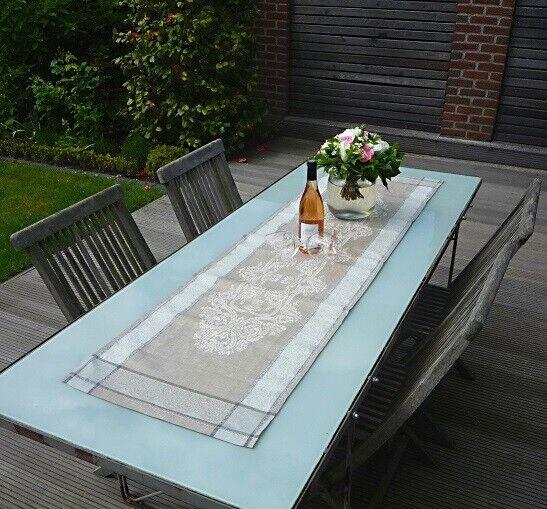 Table Coureur Jacquard lin 50x170 cm taupe avec ornements et creux