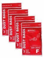 12 Royal Dirt Devil Canister Type F Allergy Vacuum Bags, Can Vac, Power Pak V...