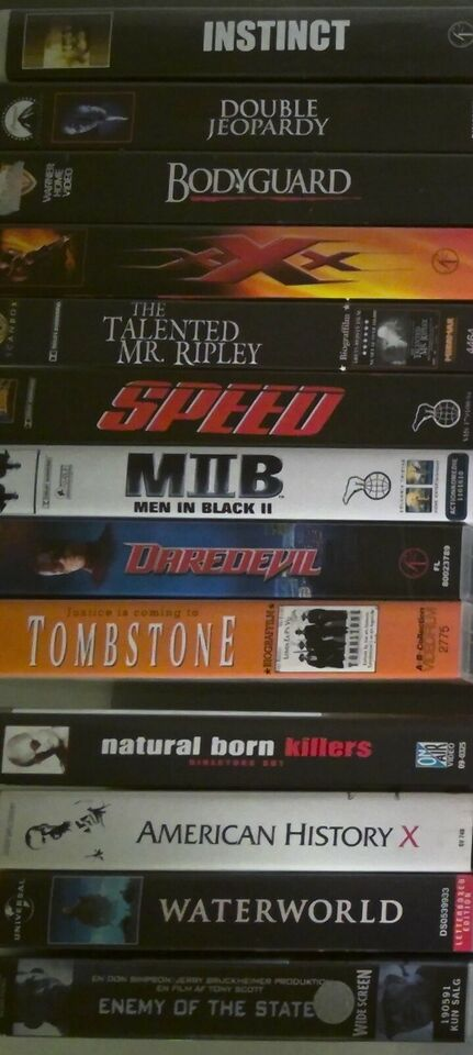 Action, VHS - storfilm, action