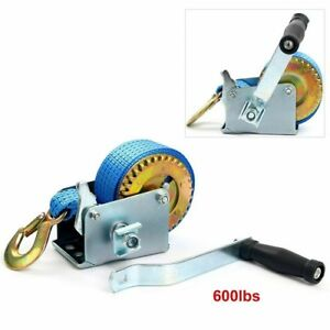 600lbs Gear Winch Hand Crank Polyester Strap ATV Boat Trailer Heavy Duty US SHIP