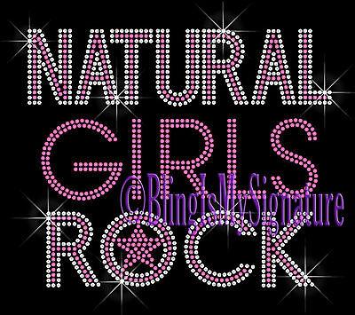 Iron on Rhinestone Transfer Bling Applique - Natural Girls Rock - Pink - Design