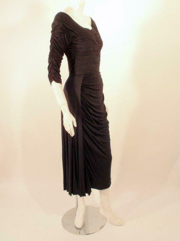 CEIL CHAPMAN Black Ruched Cocktail Dress with 3/4… - image 2