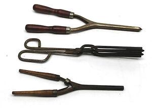 Early American Beauty Utensils 3 Antique Hair Curlers Metal Wood Handles Vintage