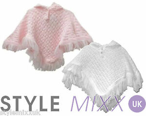468fb97bc90e Baby Girls White Pink Hooded Tassles Knitted Poncho Cardigan Jumper ...