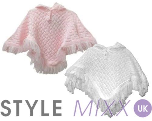 Bebé Niñas Blanco Rosa Con Capucha Flecos Knitted Poncho Chaqueta Top Jumper 0-24 Mth