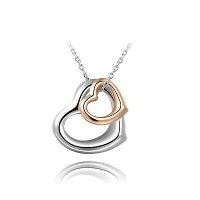 Women Romantic 18K White Gold Plated Double Heart Pendant Necklace Jewelry