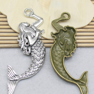 3pcs antique cute mermaid alloy clothing accessories charm jewelry pendant