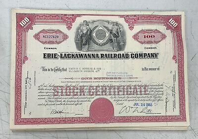 Set of 4 railroad stock certificates /> Erie /& Erie-Lackawanna shares