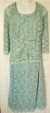 R&M RICHARDS mint green lace sequin Mother of Bride DRESS +JACKET Set Womens 22W