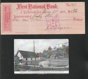 Vintage-U-S-Check-1892-First-National-Bank-Bellefonte-Pa