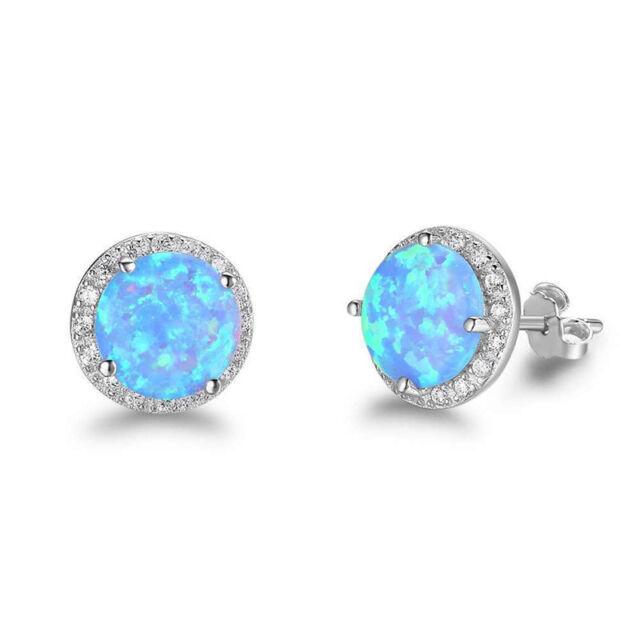 Sterling Silber Ohrstecker Blau Ozean Opal Stein Ohrringe Modeschmuck J8Q2