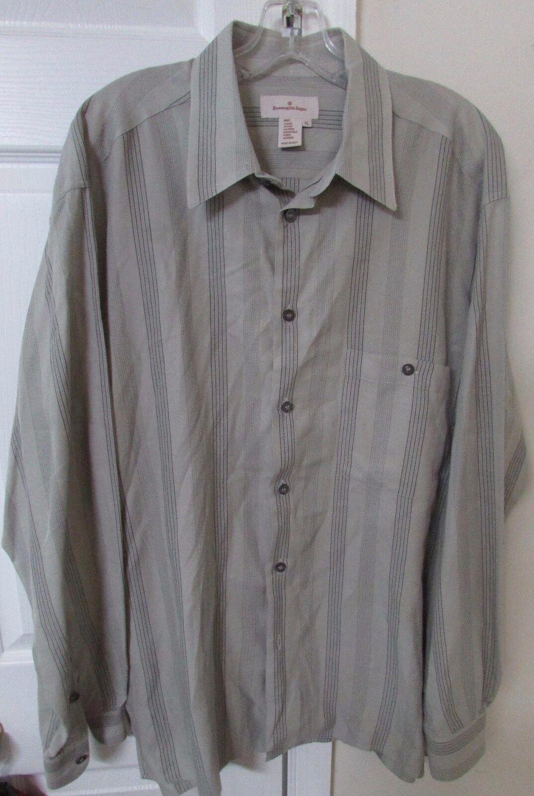 Ermenegildo Zegna Men's Long Sleeve Button Front Striped Shirt XL  EUC