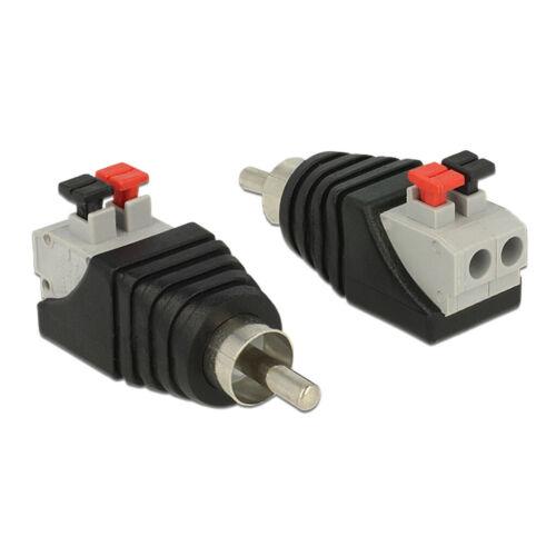 kQ Delock Adapter Cinchstecker Terminalblock RCA mit Drucktasten 2 Pin