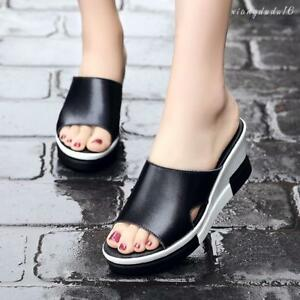 CHIC Women Platform Slippers Glitter Party Slip On Chunky Shoes Wedge Sandals