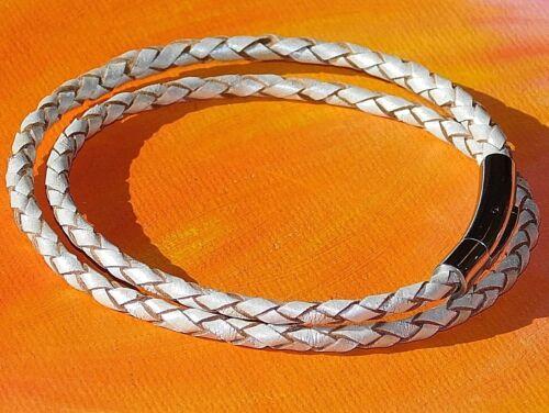 Para Hombre//Damas 3mm Light Silver Leather /& Pulsera De Acero Inoxidable por Lyme Bahía Arte