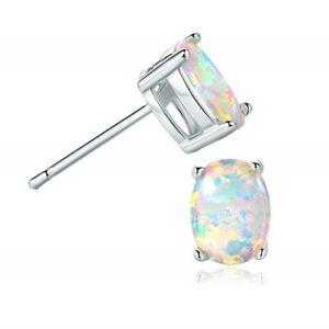 White Opal Stud Earrings Sterling Silver Opal Earrings Handmade Jewelry Sterling Silver Jewelry
