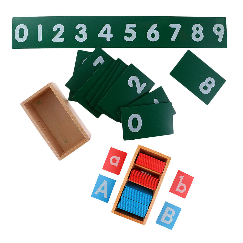 0-9 Number Cards+A-Z Sand Alphabets Boards for Kids Montessori Preschool Toy
