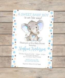 Image Is Loading Elephant Baby Shower Invitation Watercolor Custom