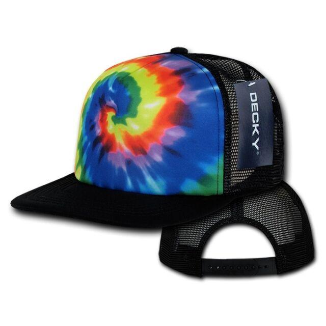 Tie Dye Print Rainbow Foam Mesh Flat Bill Snapback Trucker Baseball Ball Cap Hat