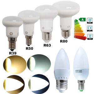 1-5-10X-3W-6W-8W-10W-E14-E27-Bougie-Ampoule-LED-Lampe-R39-R50-R63-R80-Reflecteur