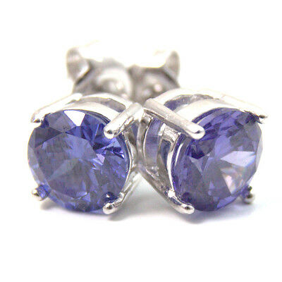 Studs Diamond Unique 4 Claw Blue Topaz Sterling Silver