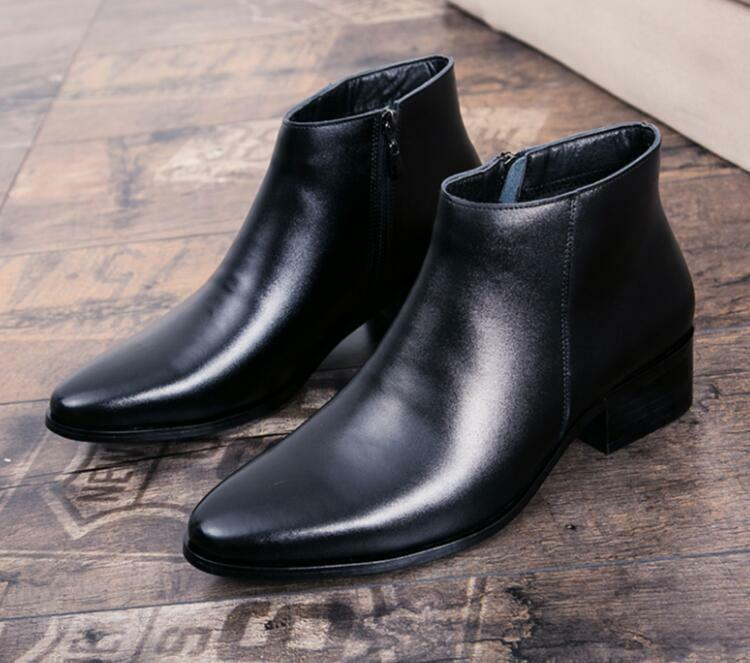 Winter Mens pure color Korean High Top Pointed Toe Zipper casual Ankle Boots