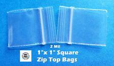 Clear 1 X 1 Mini Zip Seal Lock Top Plastic Bags 2mil Jewelry Pill Small Square