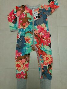 BONDS-JUNGLE-BOOK-BARE-BABY-WONDERSUIT-ZIPPY-PRINTED-DESIGNS-BY7UA-SZ-3-RARE