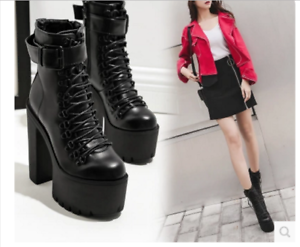 Womens Punk Chunky Zipper Ankle Boots Pu leather Motorcycle High Heel shoes