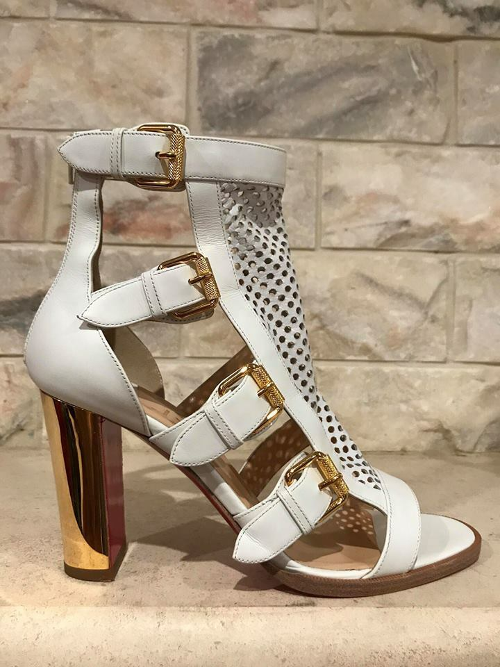 NIB Christian Louboutin Fencing 85 White gold Leather Boot Heel Pump 35  1195