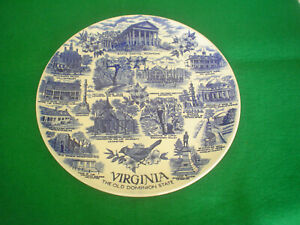 VINTAGE-VIRGINIA-SOUVENIR-PLATE-MADE-IN-ENGLAND-JON-ROTH-ENGLAND-STAFFORDSHIRE