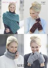 Sirdar Ladies Snood Wrap Gloves Mittens Bouffle Yarn Knitting Pattern 7387