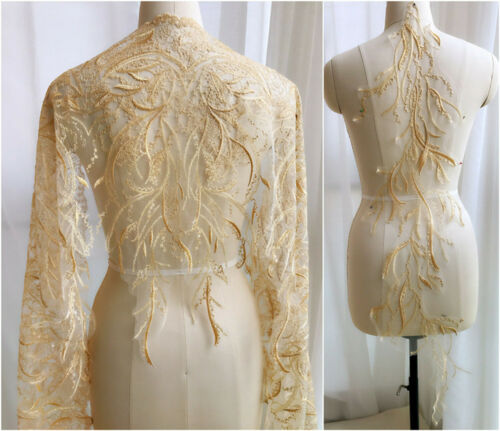 Gold Matching Lace Applique Edging Embroidery Wedding Dress Costume Ribbon Trim