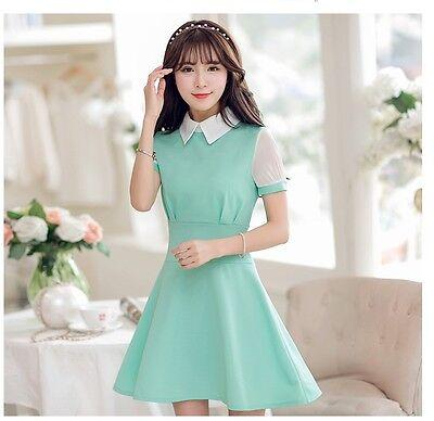 Japanese 2016 Cute Korean Fashion Turndown Collar Short Sleeve Slim Summer Mini Dress Alibaba Korean Dresses Collection On Ebay