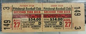 1957-PITTSBURGH-PIRATES-vs-CARDINALS-Full-Unused-Ticket-Forbes-Field-Clemente