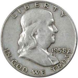 1958-D-Franklin-Half-Dollar-AG-About-Good-90-Silver-50c-US-Coin-Collectible