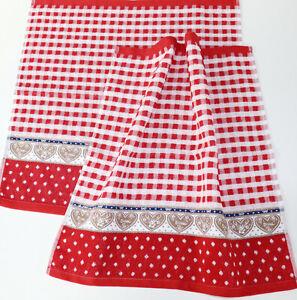2x-Towels-Hearts-Kracht-Love-Terry-Kitchen-Cloths-Wiesen-Check-German-Red