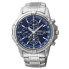 New Seiko SSC141 Solar Alarm Chronograph Stainless Blue Dial Men's Watch