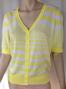 BNWT Womens Sz M 14 Mix Brand Lemon & White Stripe Short Sleeve V Neck Cardigan
