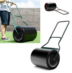 Lawn-Roller-Steel-48-Push-Tow-Garden-Grass-Rollers-Heavy-Duty-Poly-Black-16-Gal