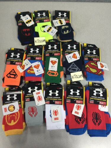 NEW UNDER ARMOUR Youth Boy Girl Super Hero Crew Chaussettes choisir modèle