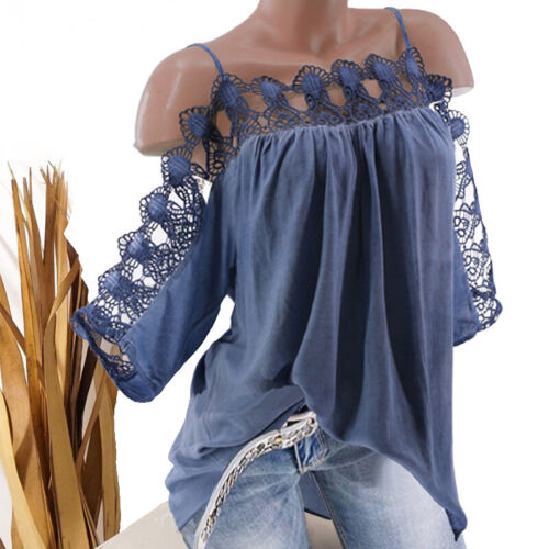 Damen Übergröße Spitze Trägertop Sommerbluse Sling-Oberteil Schulterfrei T-Shirt