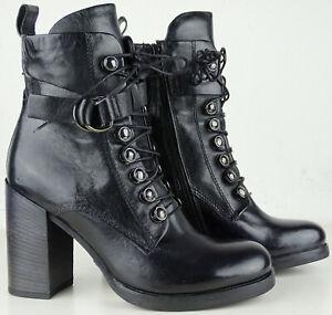 Details zu MJUS Boots Stiefelette Damen Leder Stiefel Bikerboots Bootie Schuhe Gr.37 NEU