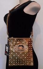BETTY BOOP Gold Studded CROSSBODY PURSE Shoulder Bag ADJUSTABLE SHOULDER STRAP