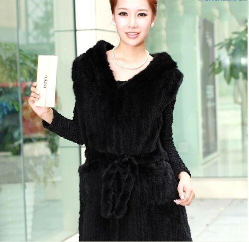 Felpa lungo Cappotto cappuccio maglia maglia primavera lavorato a moda di con visone in pX1rwqxp6
