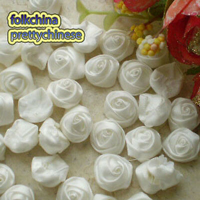 Raw White 15mm Polyester Rose Trimming Sewing Scrapbooking Appliques HB15-000