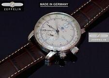 German Made New Zeppelin 7640-1 Mens Swiss Quartz Ronda Dual Time SL Steel Watch