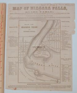 Details About Circa 1850s Large Map Of Niagara Falls New York Canada Border City Of The Falls